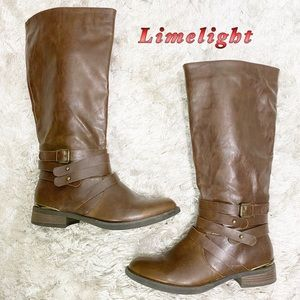 Limelight-mocha brown tall riding boot 8.5